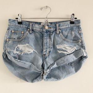 One Teaspoon Bandits Distressed Denim Shorts 27